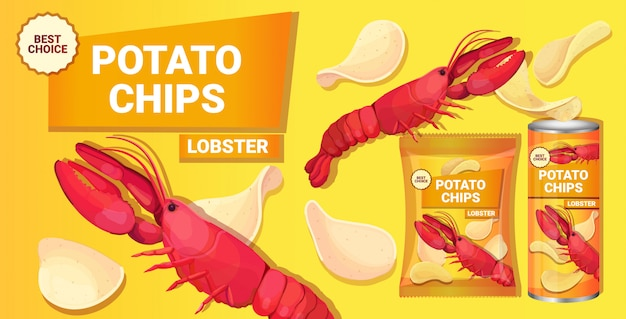 Potato chips with lobster flavor advertising composition of crisps natural potatoes and packaging