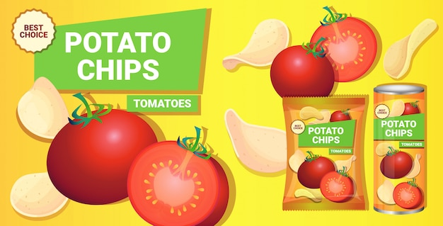 Potato chips with tomatoes flavor advertising composition of crisps natural potatoes and packaging