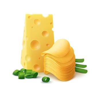 Стек картофельные хрустящие чипсы с сыром и луком крупным планом, изолированные на белом