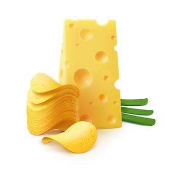 ポテトクリスピーチップススタック、チーズとタマネギを白背景にクローズアップ