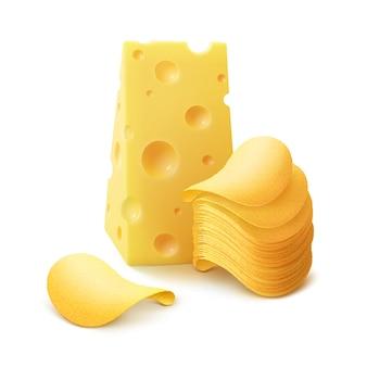 ポテトシャキッとしたチップスタックチーズとクローズアップ白で隔離