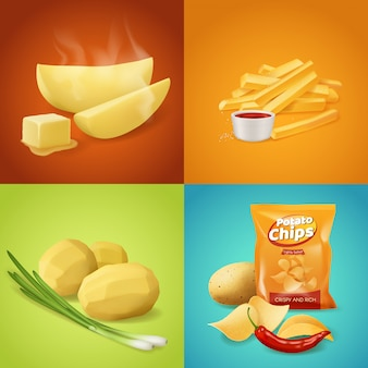 Potato dishes  food. whole boiled peeled potato with green onion, baked slices with steam and butter, french fries with ketchup sauce and salty spicy chips. realistic potato vegetable meals menu