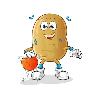 Potato dribble basketball character