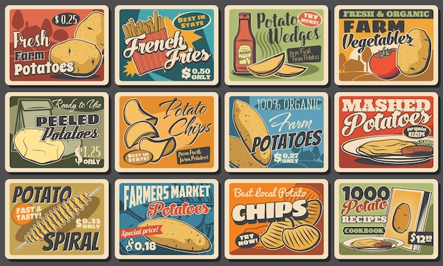 Potato food and meals, vector tornado spiral, french fries and potato wedges snack with chips. farmer market vegetable products. cafe or bistro assortment, vintage retro promo posters with price tags