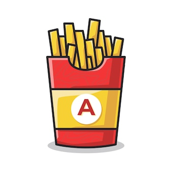 Potato french fries in the big fast food container in cute line art illustration