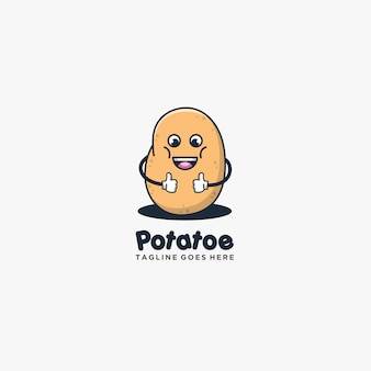 Potato good pose smile cute style illustration .