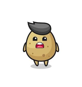 미안하다고 사과하는 표정이 있는 감자 그림, 티셔츠, 스티커, 로고 요소를 위한 귀여운 스타일 디자인