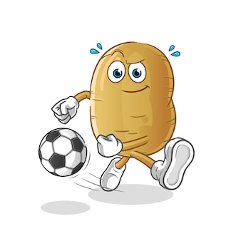ボール漫画を蹴るジャガイモ
