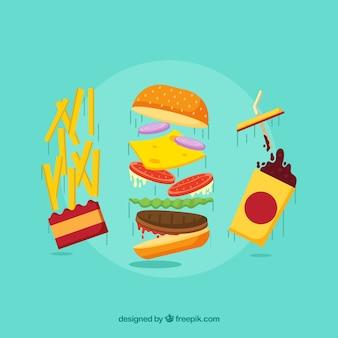 Sfondo del menu della patata con bevanda e hamburger