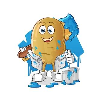 Potato painter illustration