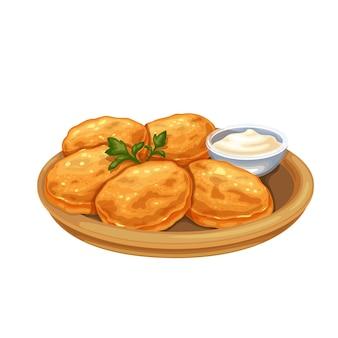 감자 팬케이크 음식 그림입니다. 사워 크림과 함께 접시에 감자 요리의 유럽 또는 벨로루시 요리 전통