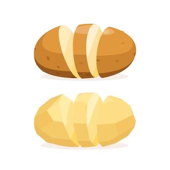 껍질 없이 감자 조각 흰색 배경에 음식의 벡터 일러스트 레이 션