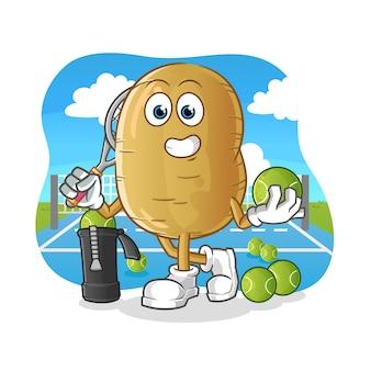 Potato plays tennis illustration