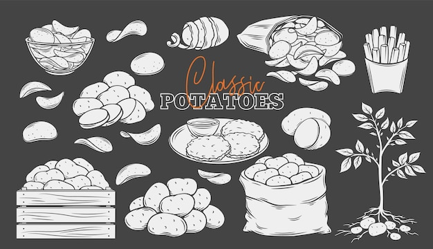 Potato products glyph icons set, white on black. engraved monochrome chips, pancakes, french fries, whole root potatoes. vector illustration of harvest vegetables.