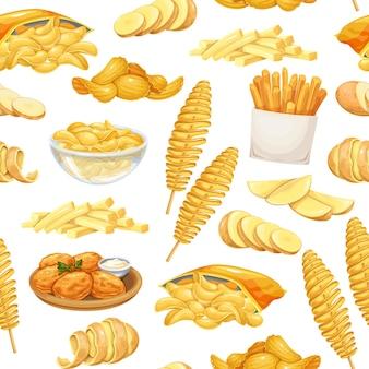감자 제품 완벽 한 패턴, 벡터 일러스트 레이 션입니다. 만화 현실적인 스타일의 칩, 팬케이크, 감자튀김, 뿌리 감자가 있는 배경. 길거리 음식 야채의 벡터 그림입니다.