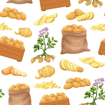 Potato products seamless pattern, vector illustration. background with whole root potatoes in burlap sack, tubers in cartoon realistic style. vector illustration of harvest vegetables.