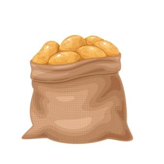 ジャガイモ塊茎のイラスト。黄麻布の袋、束でジャガイモを養殖します。分離された収穫された根菜類