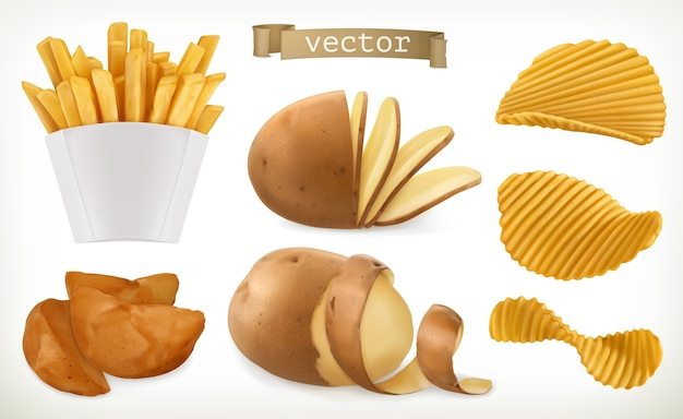 Potato, wedges and fry chips icon set