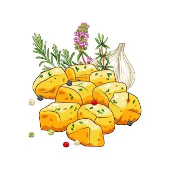 허브와 향신료 만화 스타일로 설정 감자 요리. 음식과 식사 그림. 흰색으로 격리.