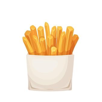 카톤 패키지 상자에 감자 감자 튀김. 패스트 푸드 그림