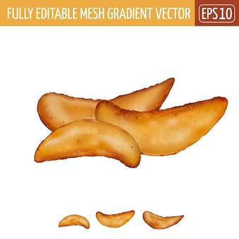 Potatoes rustic illustration on white