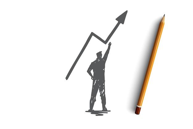 잠재력, 비즈니스, 성공, 위험, 동기 부여 개념. 손으로 그린 된 사업가 성장 개념 스케치를 계획.