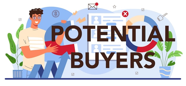 Potential buyers typographic header. real estate industry. idea of wide selection of house for sale and rent. realtor assistance and help in property mortgage. flat vector illustration