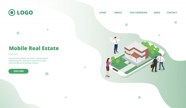 Potential consumers search property on internet promoted by marketing modern flat cartoon style