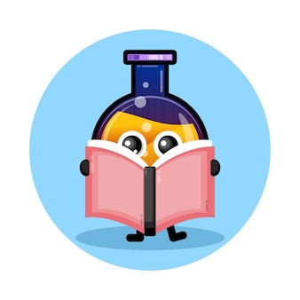 Potion bottle book cute character logo