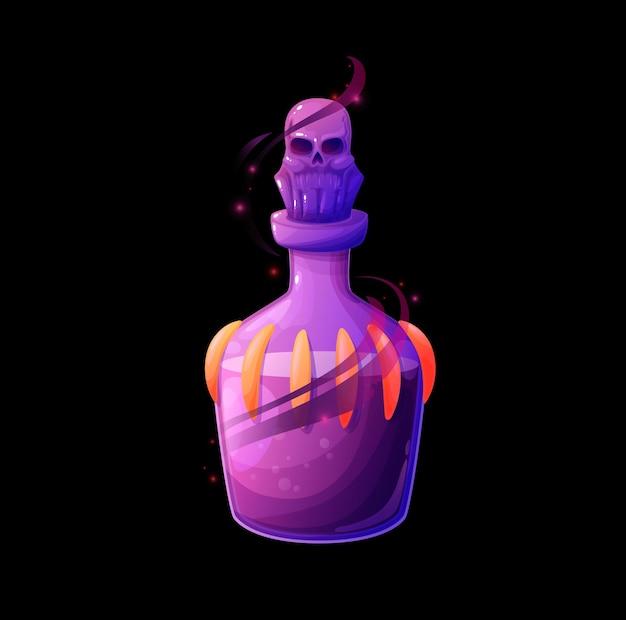 死の秘薬が入ったポーションボトル、紫色の液体が入ったベクターマジックガラスフラスコ、輝く霞または火花、頭蓋骨の栓。魔法のゲームの漫画のデザイン要素。魔女の毒、孤立した錬金術のuiオブジェクト
