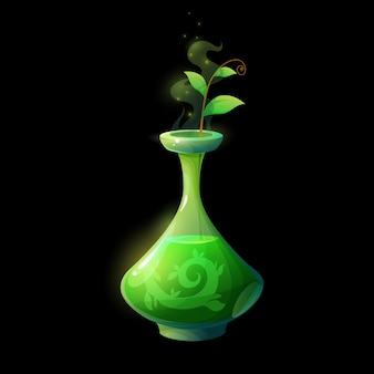 Potion bottle with green sprout, glass flask with magic elixir
