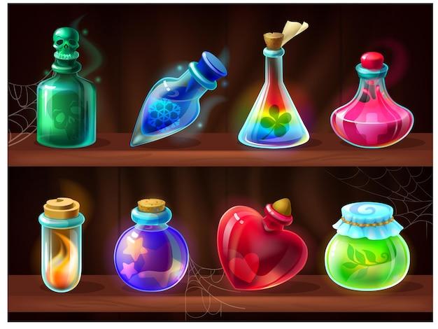Бутылки с зельями. игра алхимик жидкости на деревянной полке, мультяшное приворотное зелье, яд, волшебный эликсир. векторный набор фэнтезийных игровых химических банок для лаборатории магической алхимии