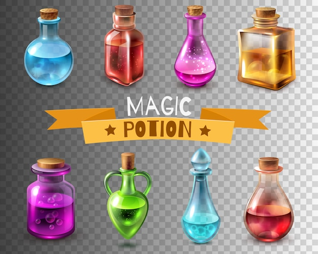 Potion flasks transparent collection