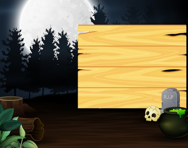 Potion in front of wooden board with full moon background