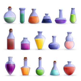 Potion icon set, cartoon style