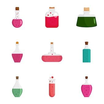 Potion magic bottle icon set, flat style