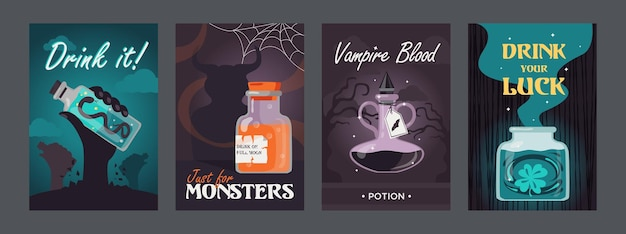 Potion posters set. magic bottles with witchcraft drinks or vampire blood illustrations with text