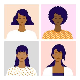 アフリカ系アメリカ人の正面の画角の肖像。フラットベクトルイラスト。