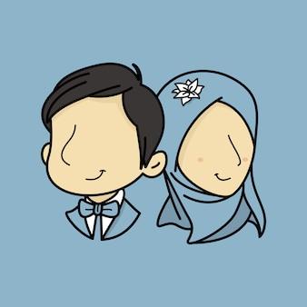 顔のないpotraitイスラム教徒の結婚式のカップル