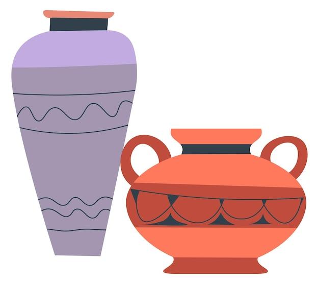 Горшки и кувшины из глиняной посуды и старинные поделки