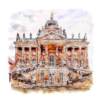 포츠담 독일 수채화 스케치 손으로 그린 그림
