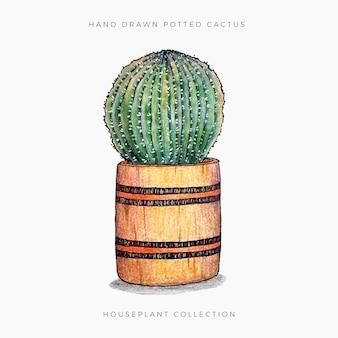 Potted cactus 1 Premium Vector