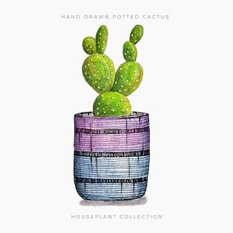 Potted cactus 2 Premium Vector
