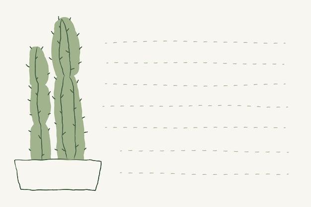 鉢植えのサボテン落書きベクトルと裏地付きのメモの背景