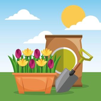 鉢植えの花のシャベルと肥料庭の太陽の空