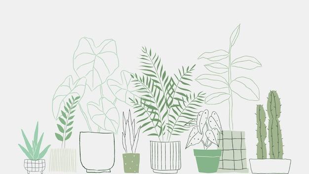 Fondo di vettore di scarabocchio della pianta in vaso