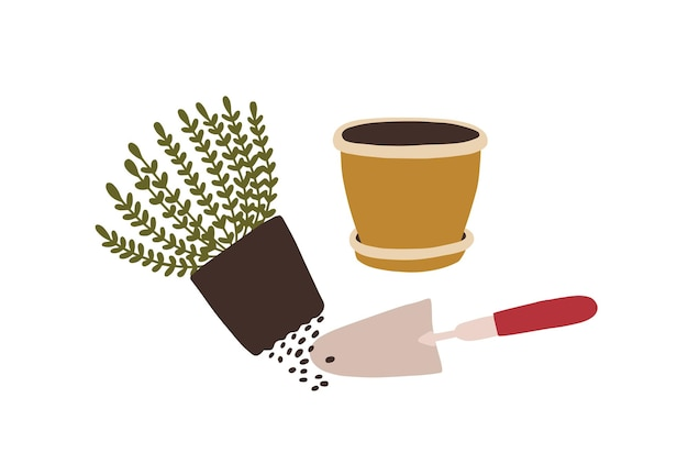 Potted plant transplantation. trowel, pot and seedling growing in soil isolated on white background. houseplant cultivation, home gardening, horticulture. flat cartoon colorful vector illustration.