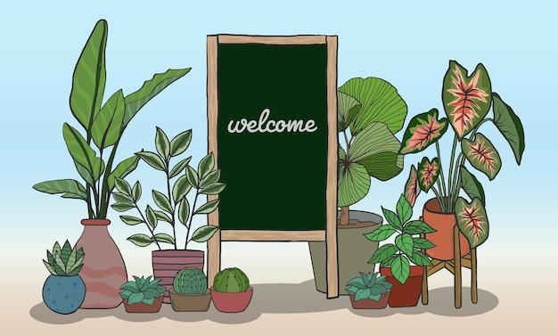 メッセージを書くためのブラックボードと鉢植えの植物手描きスタイル