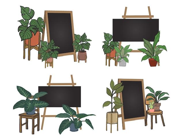 Комнатные растения с черной доской для написания сообщений