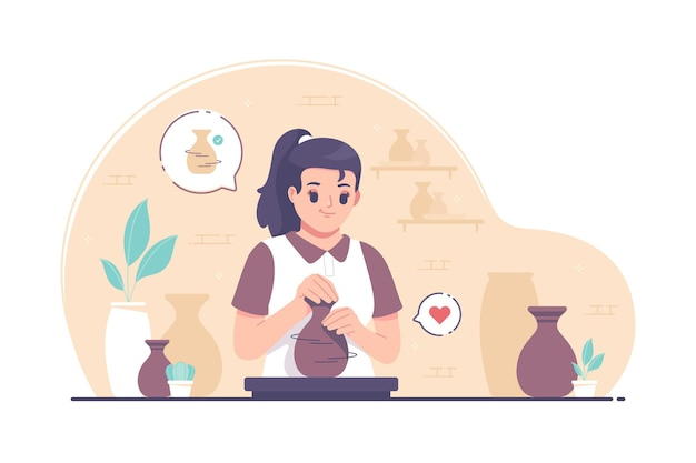 Potter girl making clay pots on pottery wheel illustration